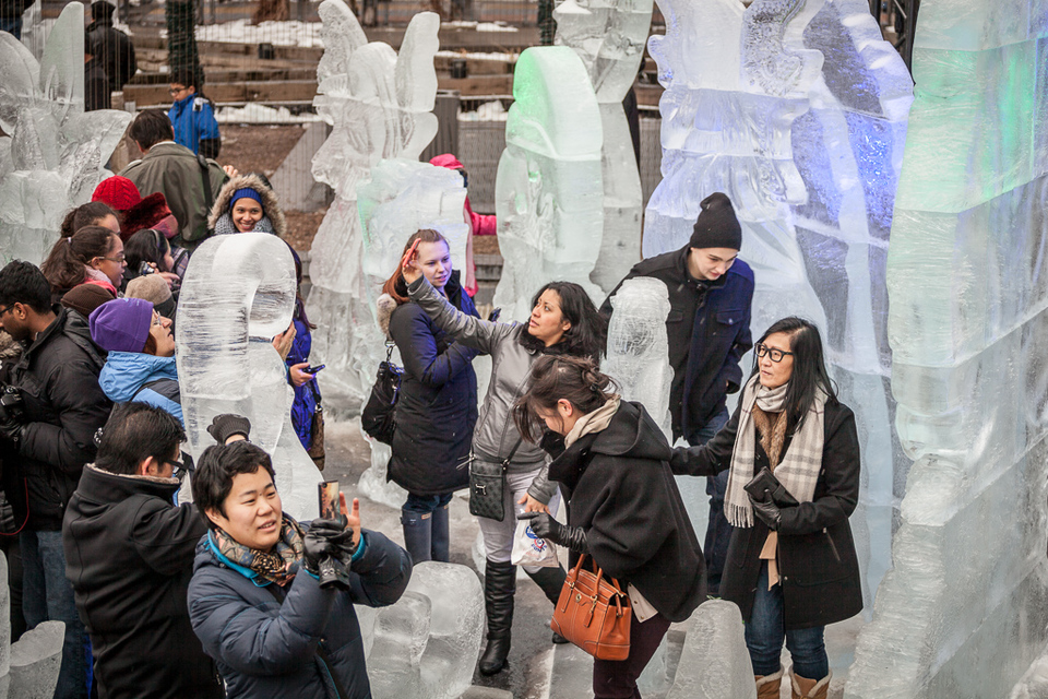 Crowd taking photos during Icefest
