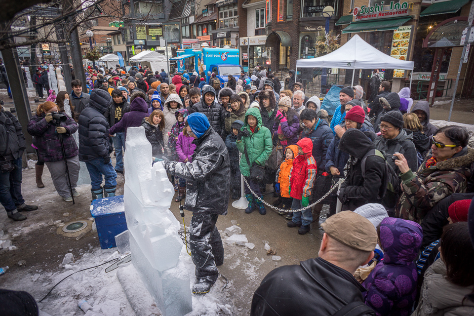 Ice sculptor in action