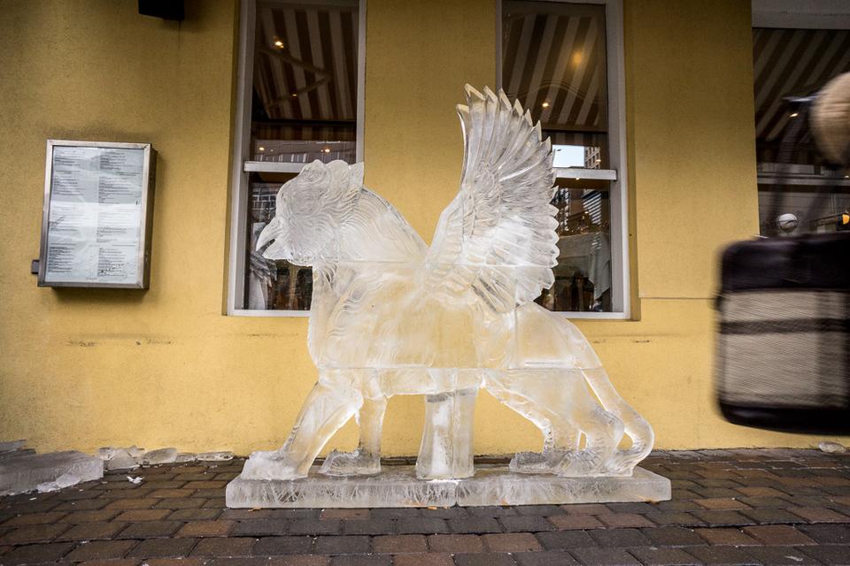 Sphynx ice statue