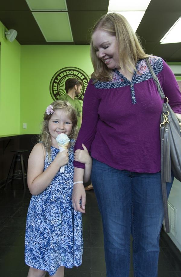 enjoying ice cream
