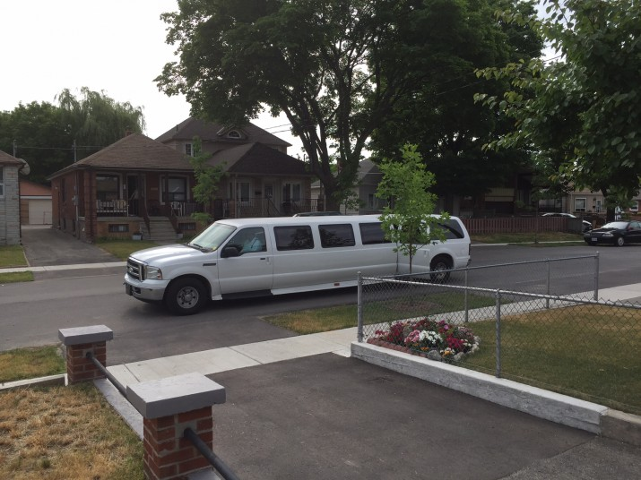 Limo in front of Tyler's house. Our ride to the tour!