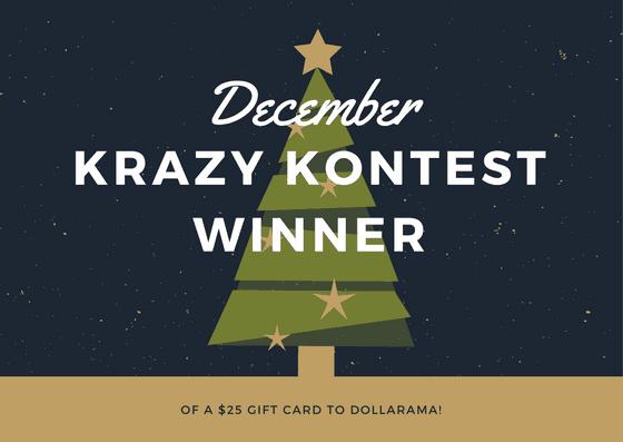 DECEMBER KRAZY KONTEST-winner