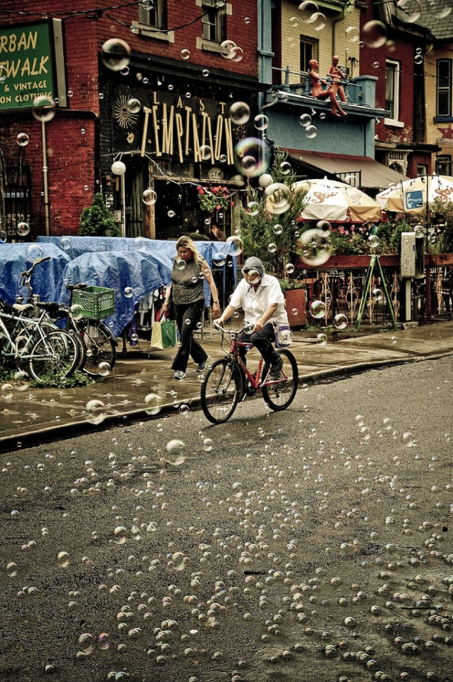 Bubble Rain in Kensington Market by somebody