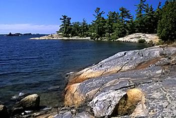 Shield shoreline of Georgian Bay Islands National Park of Canada
