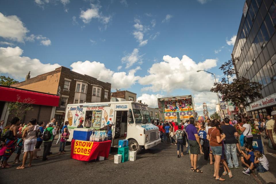Ice cream van on street festival