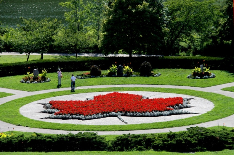 High park maple leaf shaped flower bed