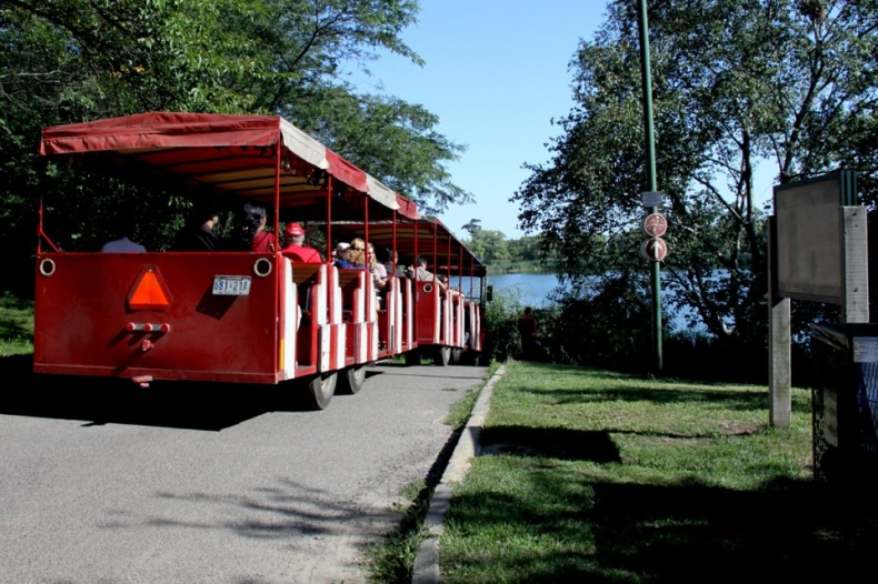 Red sightseeing train