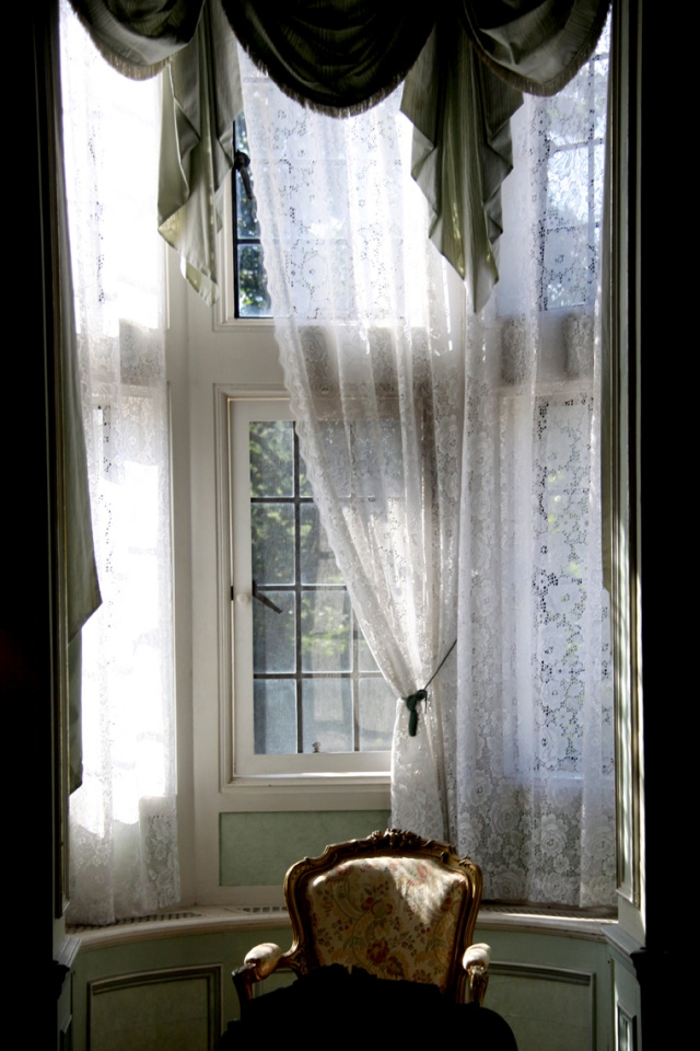 Salon window with curtains