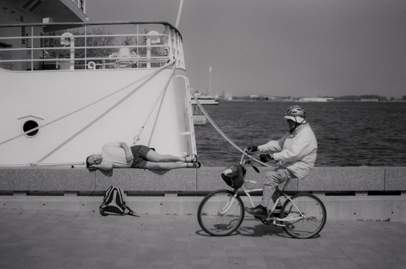 Biking in Toronto harbour