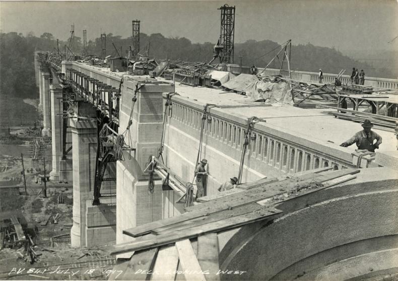 Workers on Bloor Viaduct Construction