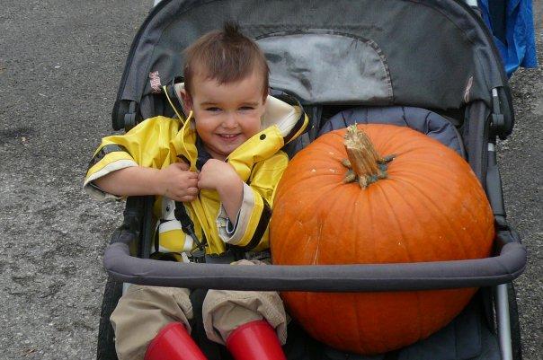 A Little Boy and a Big Pumpkin