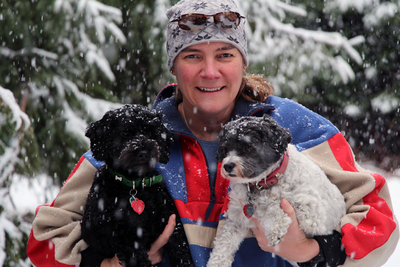 JMK with Dogs 1st snowfall