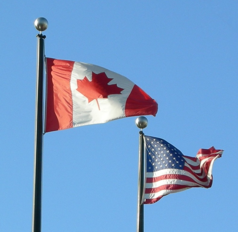 Flags of Canada and the USA by Sam