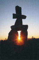 inukshuk in the sunset